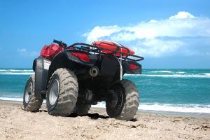 atv on a sandy beach